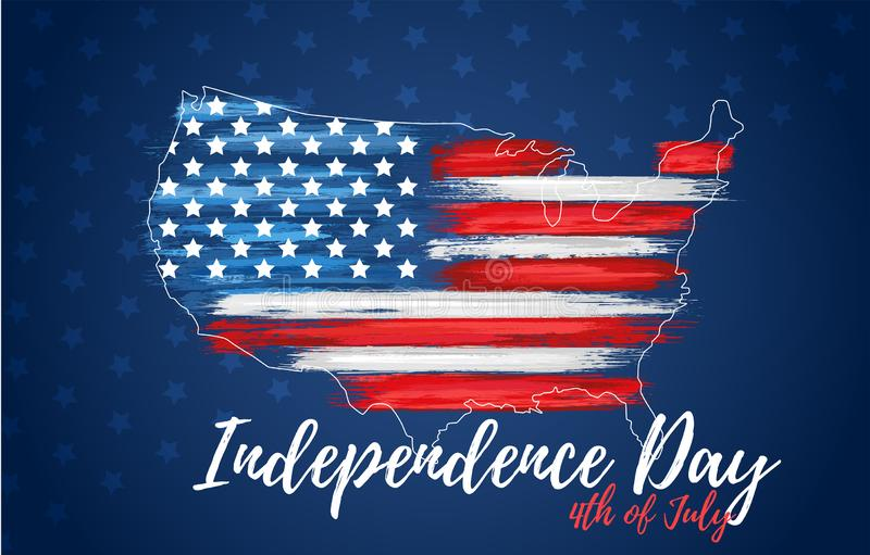 Happy independence day 4th of July. United states of America day greeting card. American flag symbol with paint brush strokes. National patriotic and political stock photography