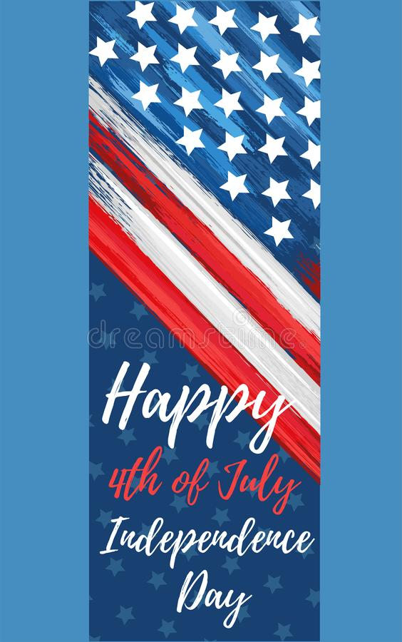 Happy independence day 4th of July. United states of America day web banner. American flag symbol with paint brush strokes. National patriotic and political stock photography