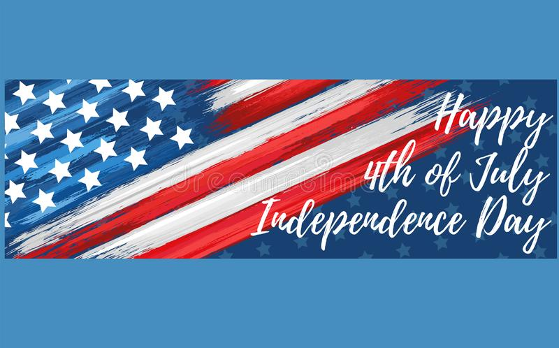 Happy independence day 4th of July. United states of America day web banner. American flag symbol with paint brush strokes. National patriotic and political royalty free stock photography