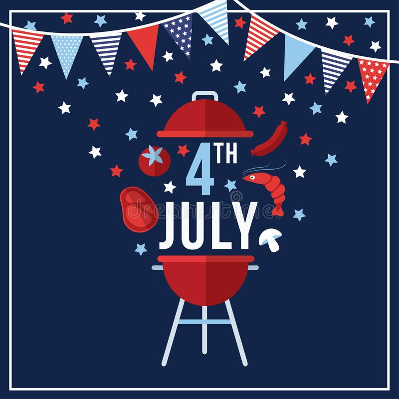 Happy Independence day, 4th July national holiday. Festive greeting card, invitation with bunting flags decoration. Barbecue food symbols and stras in USA flag vector illustration