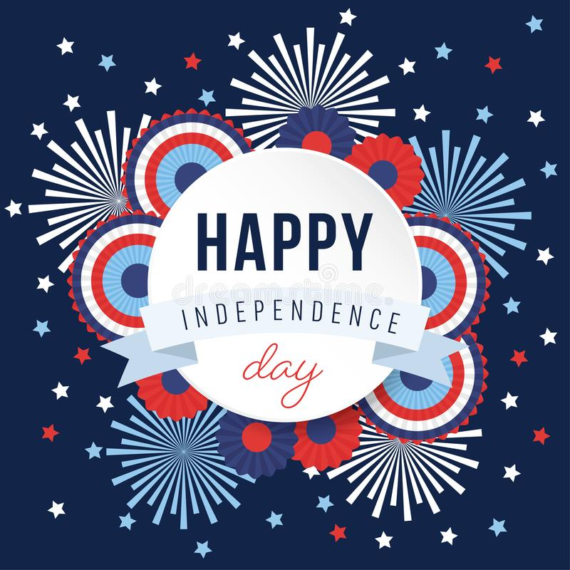 Happy Independence day, 4th July national holiday. Festive greeting card, invitation with fireworks and bunting party. Decorations in USA flag colors, vector stock illustration