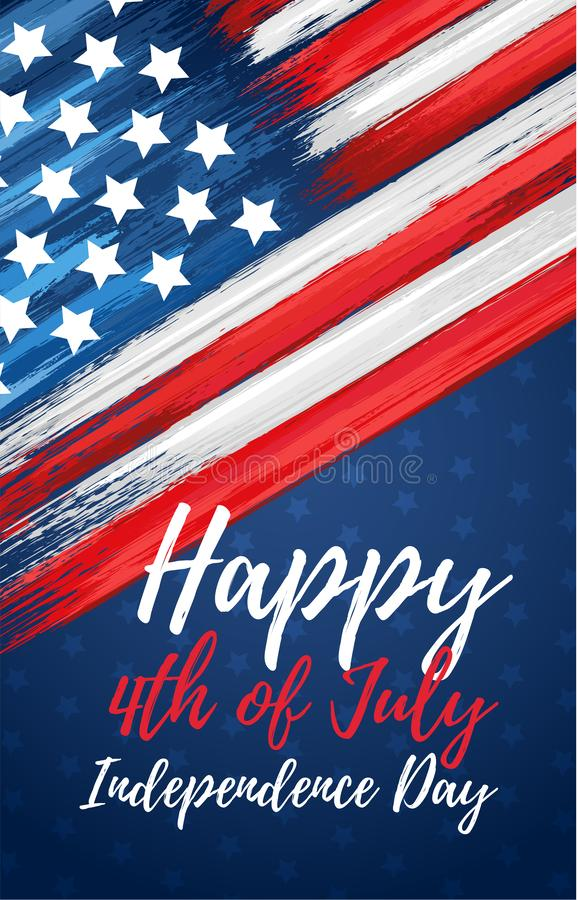Happy independence day 4th of July. United states of America day greeting card. American flag symbol with paint brush strokes. National patriotic and political vector illustration