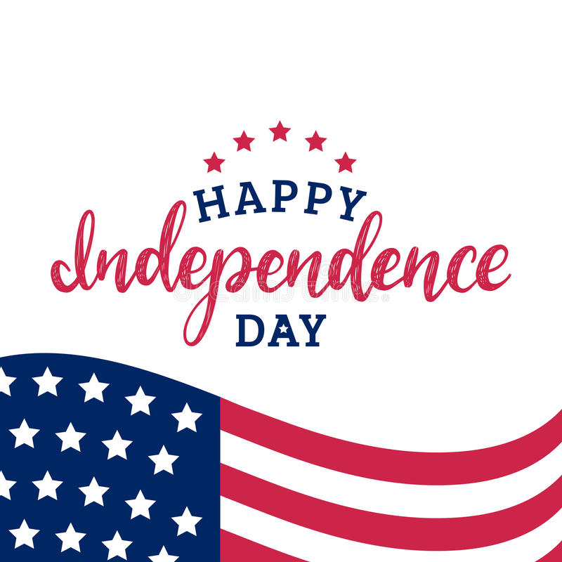 Happy Independence Day of United States of America calligraphic poster, card etc. USA flag background. stock illustration