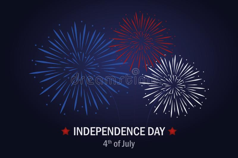 Happy Independence Day usa firework in blue and red colors. Vector illustration EPS10 royalty free illustration