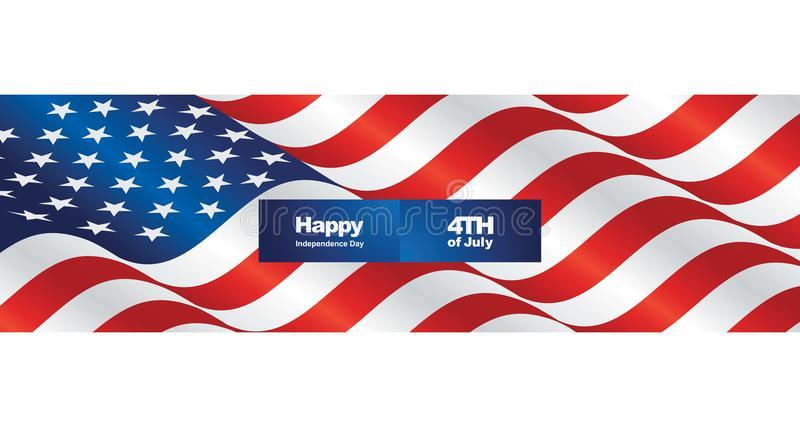 Happy Independence Day USA flag two fold greeting card royalty free illustration
