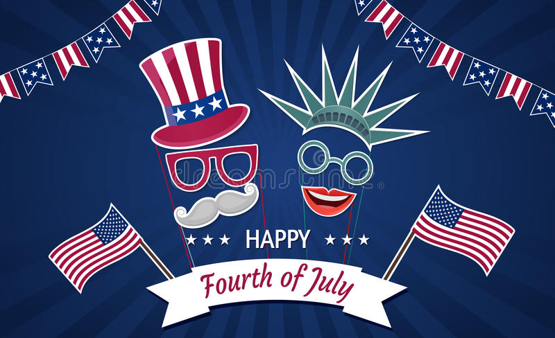 Happy Independence Day USA. Fourth of July. Patriotic attributes, party invitation. Vector illustration EPS10 vector illustration