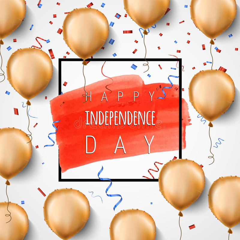 Happy independence day USA. Gold foil balloons and confetti. Vector. Celebration background for 4th of July. Trendy royalty free illustration