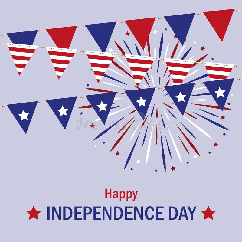 Happy Independence Day usa pattern party flags and firework in blue and red colors. Vector illustration EPS10 royalty free illustration