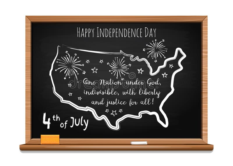 Fourth of July. Chalk inscription on blackboard. Happy Independence Day. Words US oath of allegiance and USA map. Chalk inscription on blackboard. 4th of July vector illustration
