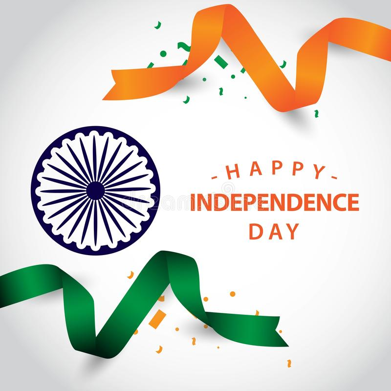Happy India Independence Day Vector Template Design Illustration stock illustration