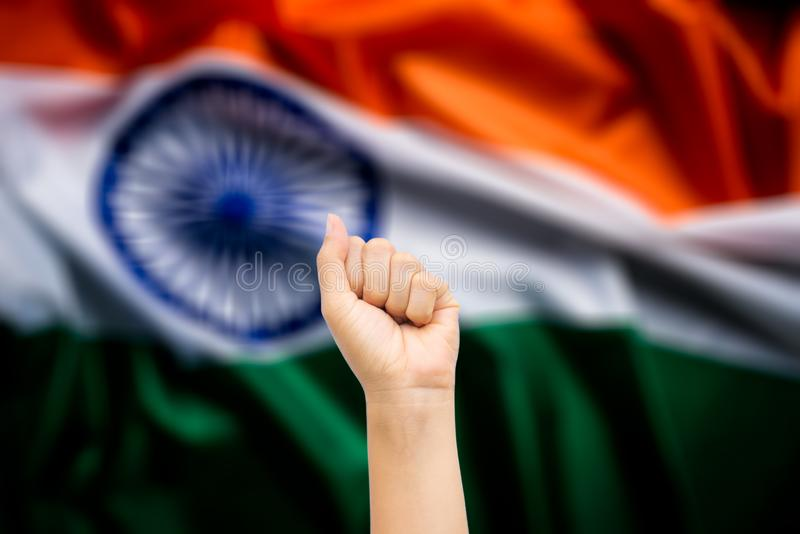 Happy India republic, Hands of people with India national flag in background. Indian Independence Day.  royalty free stock photo