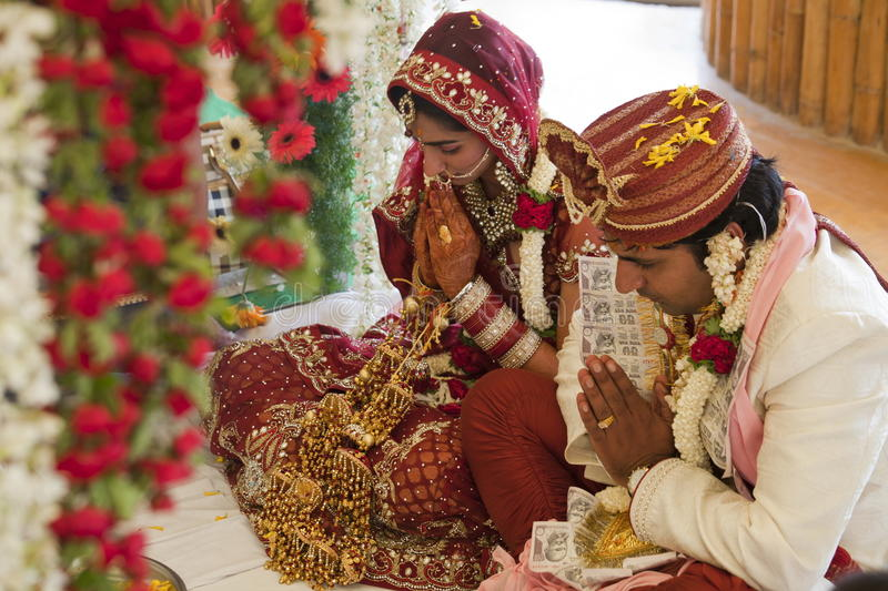 Happy Indian couple. At their wedding stock photo