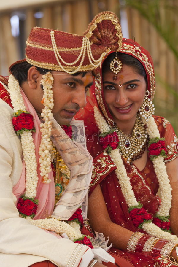Happy Indian couple. At their wedding royalty free stock images