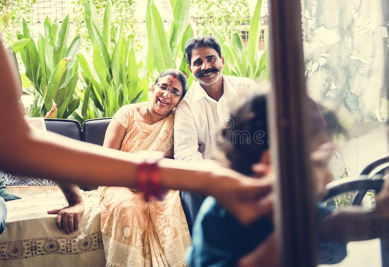 A happy Indian family generation royalty free stock images