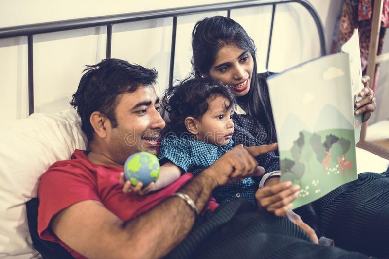 A happy Indian family together stock photography