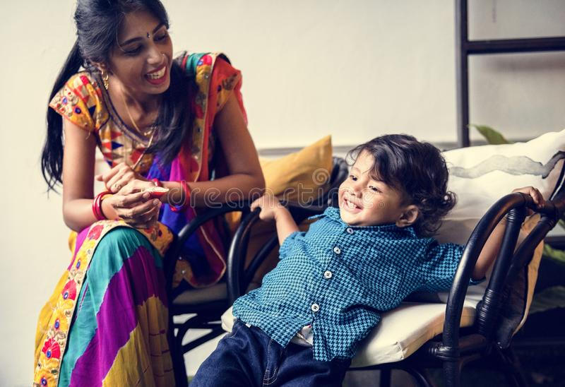 A happy Indian Mother and son stock image