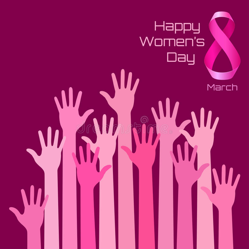 Happy International Womens Day Greeting Card Design. Pink hands stock illustration