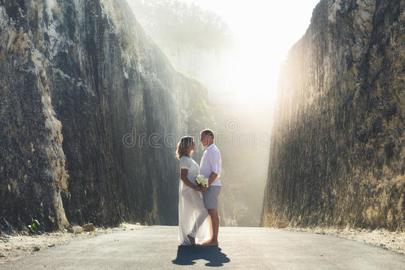 Happy International Womens Day, 8 March. Happy successful couple. Travalers at Bali, Indonesia royalty free stock image