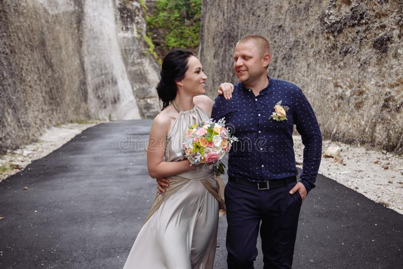 Happy International Womens Day, 8 March. Happy successful couple. Travalers at Bali, Indonesia royalty free stock photo