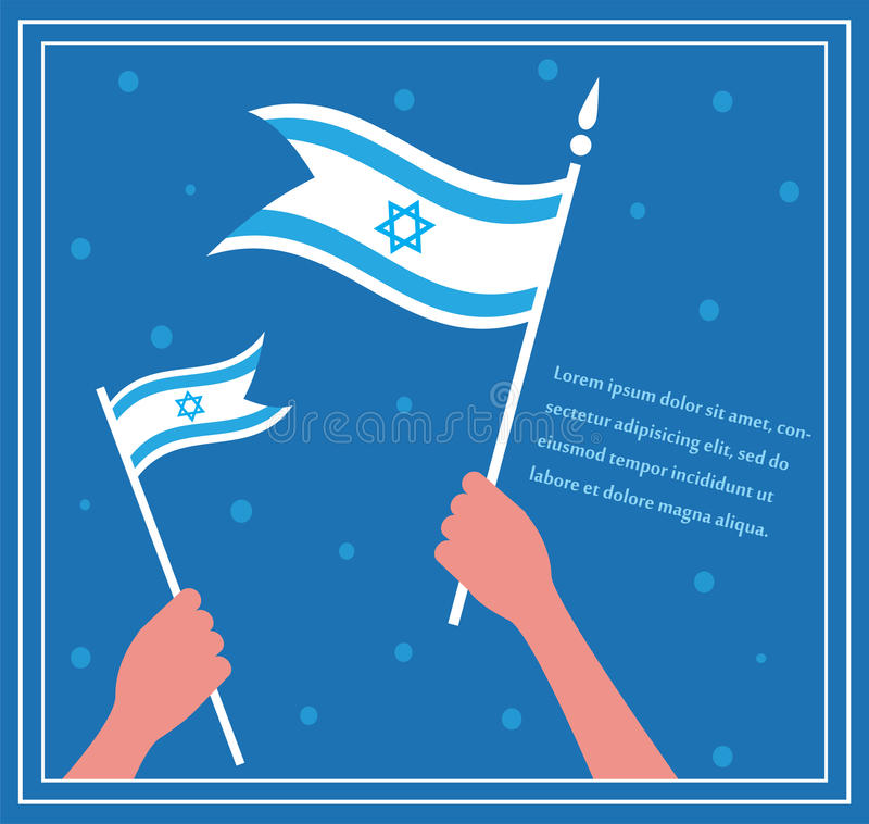 Happy Israeli independence day. hand holding a flag. stock illustration