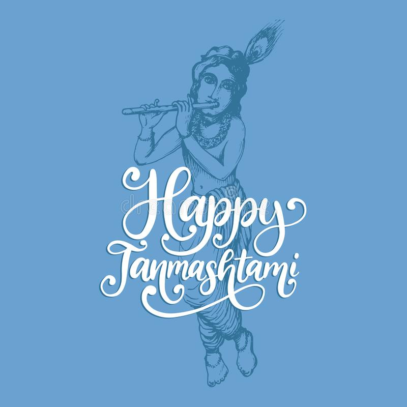 Happy Janmashtami, hand lettering. Sketch of young god Krishna on blue background. Vector drawn illustration. stock illustration