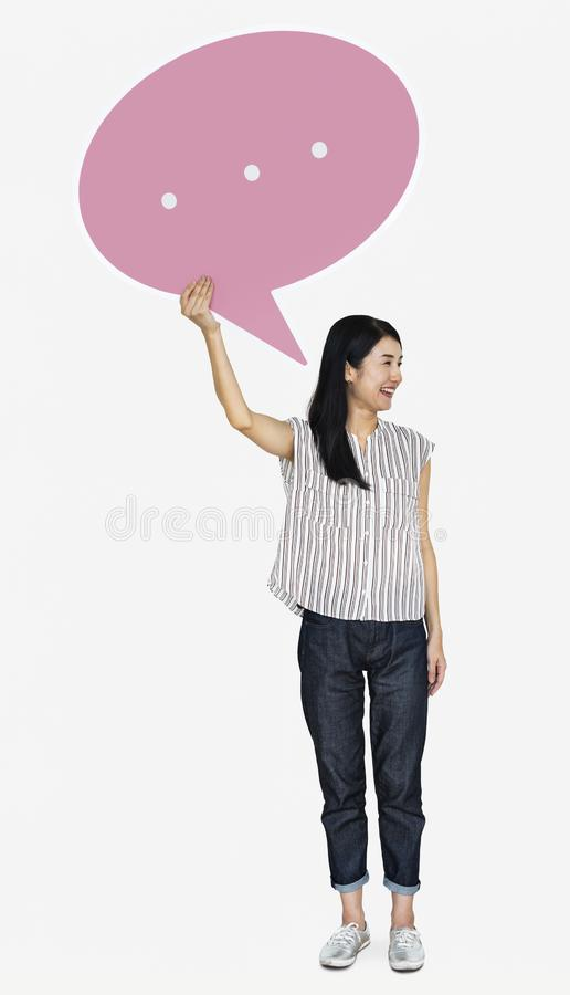 Happy Japanese woman with a speech bubble stock photography