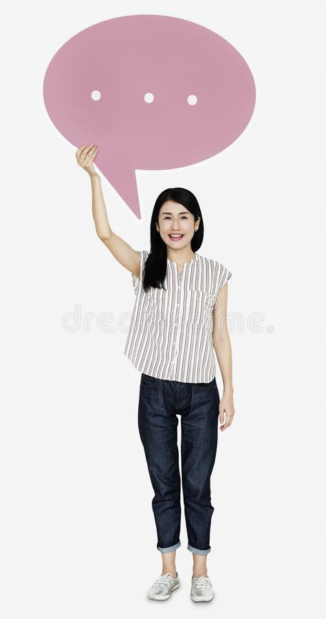 Happy Japanese woman with a speech bubble royalty free stock photography