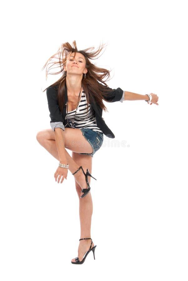Download Happy Jazz Brunette Woman Dancing Stock Image - Image: 20573643