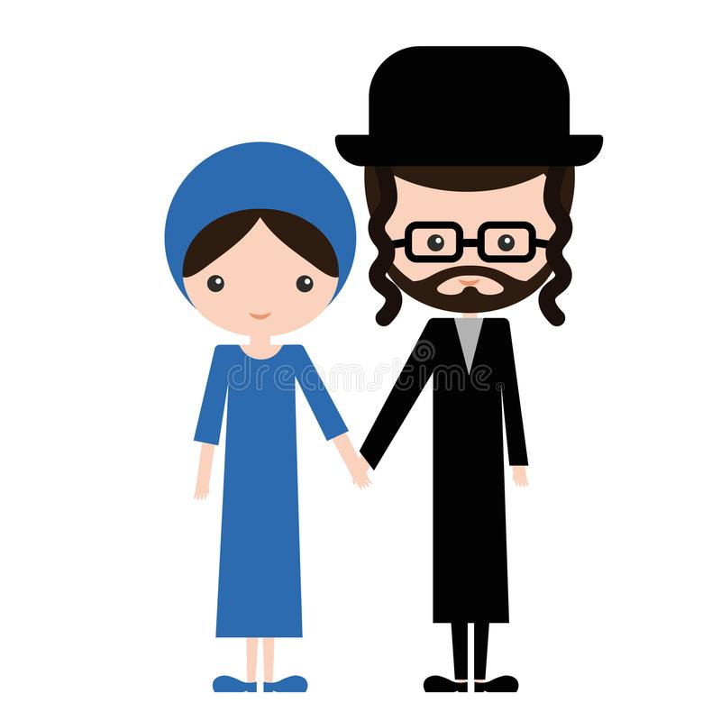 Happy jewish couple in traditional clothes vector illustration