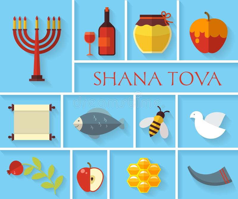 Happy Jewish new year Shana Tova icons royalty free illustration