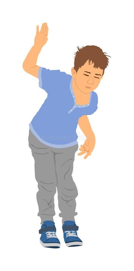 Happy joyful kid, little boy doing exercises , vector illustration isolated on white background. child waving silhouette Say hello royalty free illustration