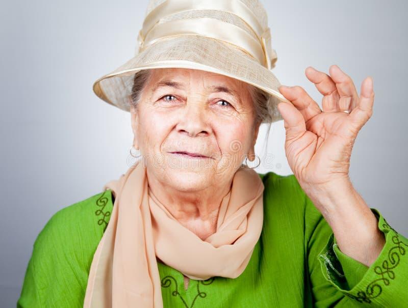 Happy joyful old senior lady stock photos