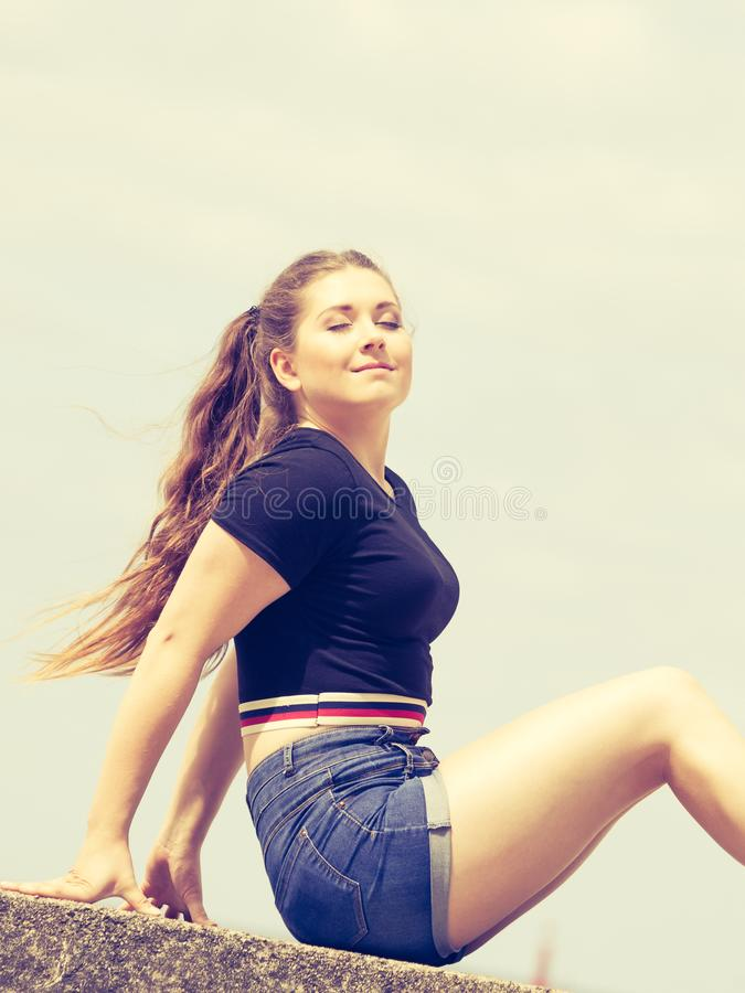 Happy teenager woman outside royalty free stock image