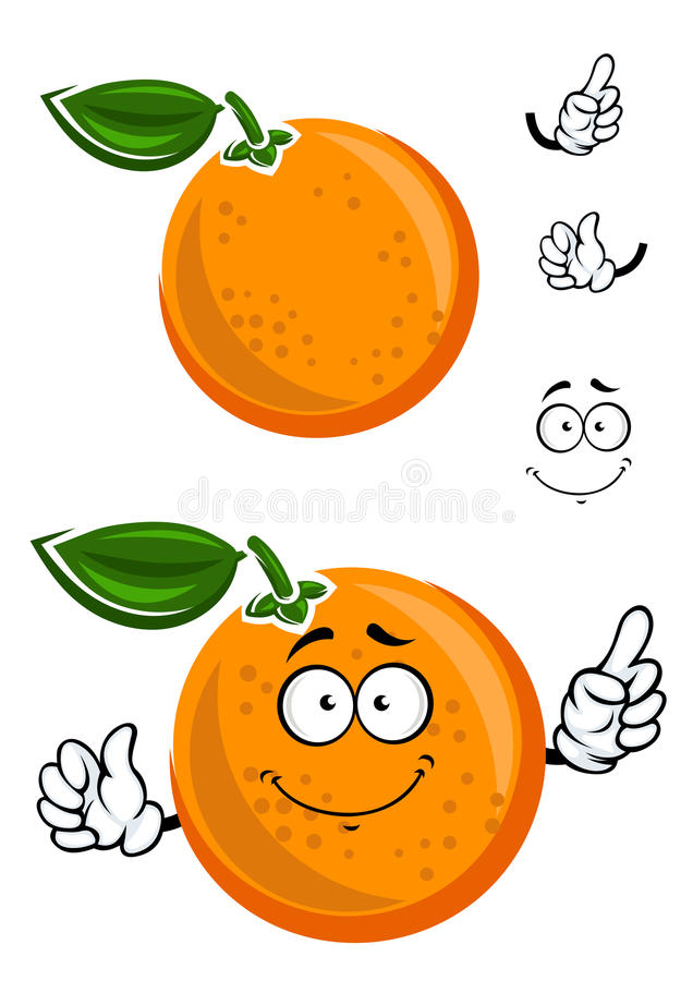 Happy juicy cartoon orange with green leaf stock illustration