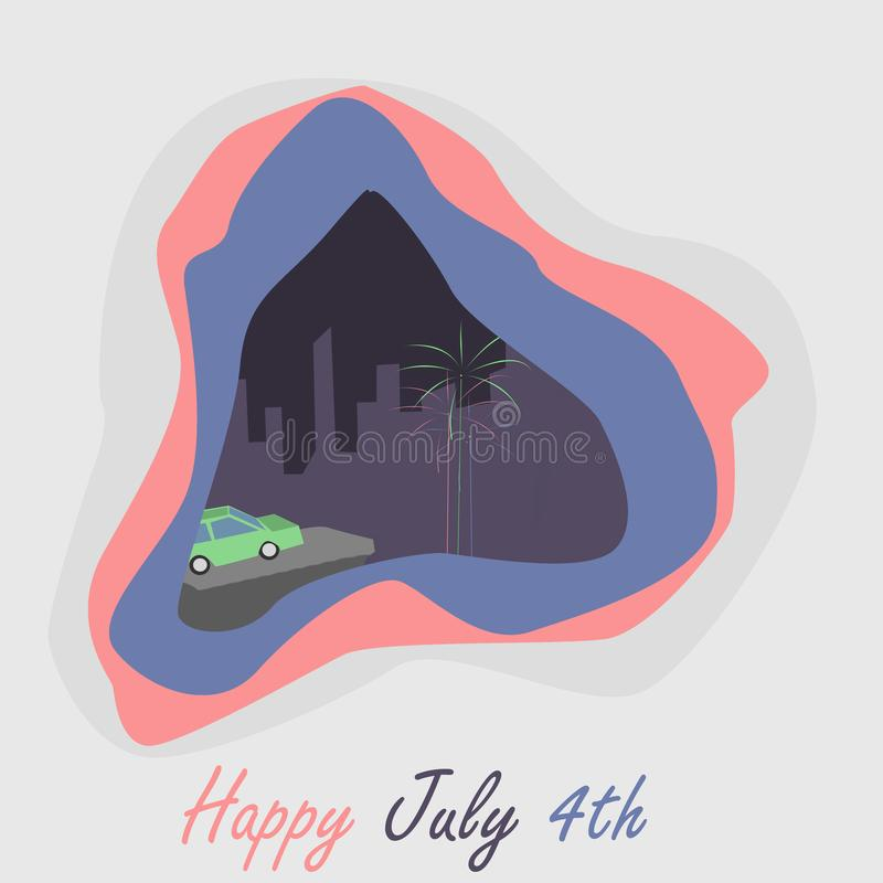 Happy July 4th Greeting Card with Fireworks. Illustration royalty free illustration