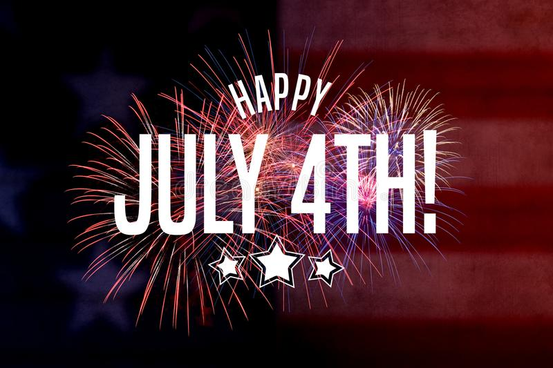 Happy July 4th Greeting with red and blue background. With fireworks stock illustration