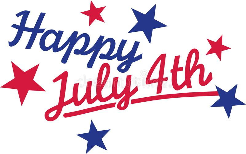 Happy July 4th with stars in blue and red vector illustration