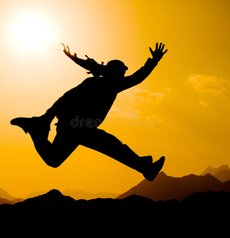 Happy jump stock image
