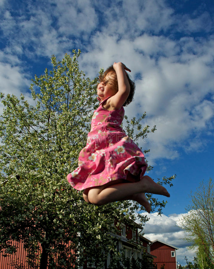 Download Happy jumping girl stock photo. Image of fuse, garden - 14581394