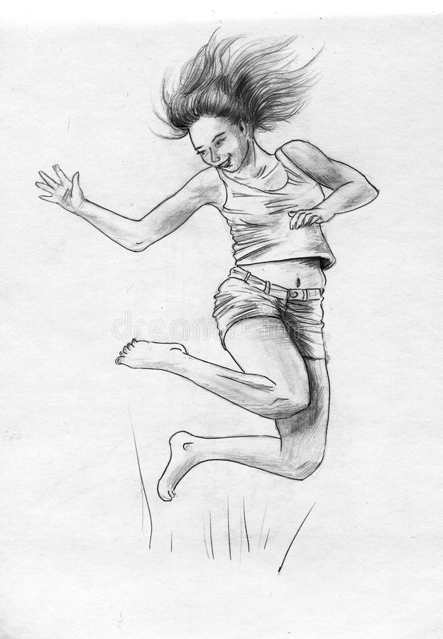 Download Happy jumping girl stock illustration. Image of illustrations - 17469702