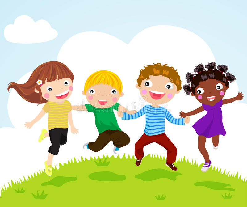 Download Happy Jumping Girls And Boys Stock Vector - Image: 20866963