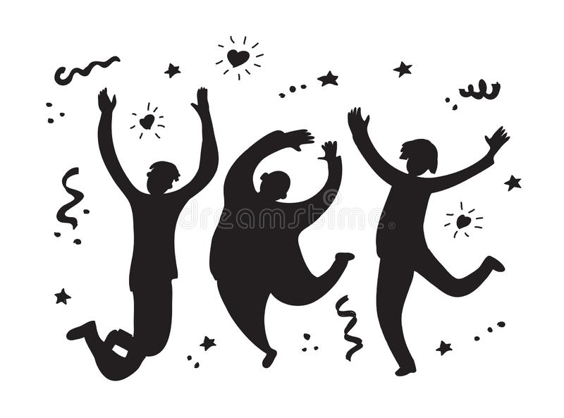 Happy jumping group people silhouette black and white stock illustration