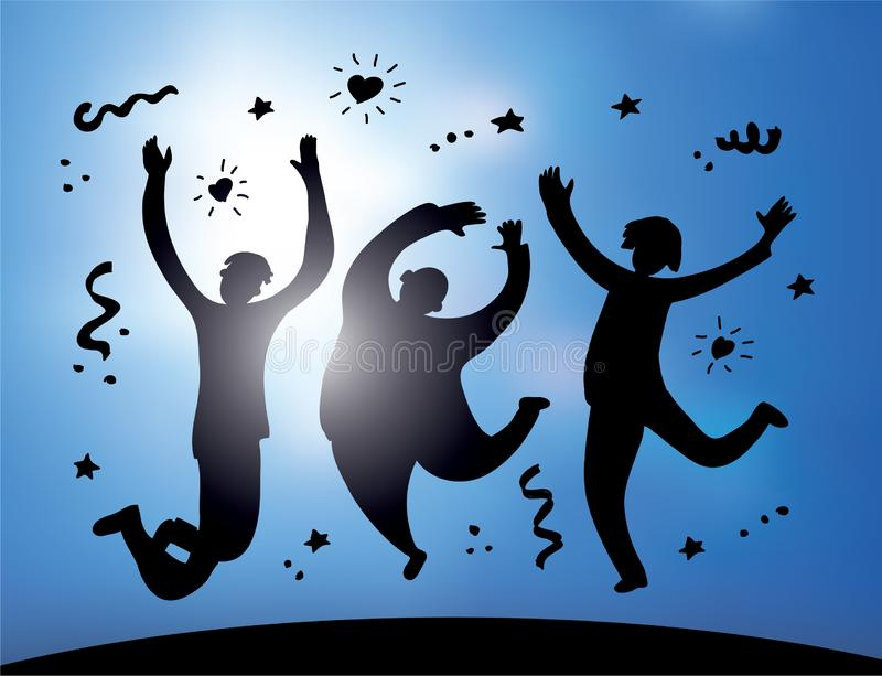 Happy jumping group people silhouette and sky stock illustration