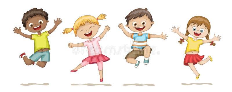 Happy Jumping Kids. Funny cartoon hand drawn character royalty free illustration