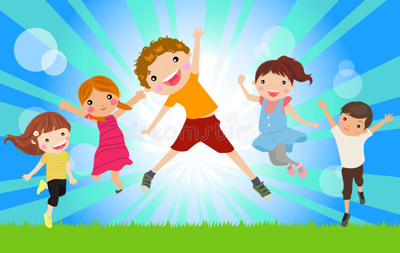 Happy jumping kids royalty free illustration