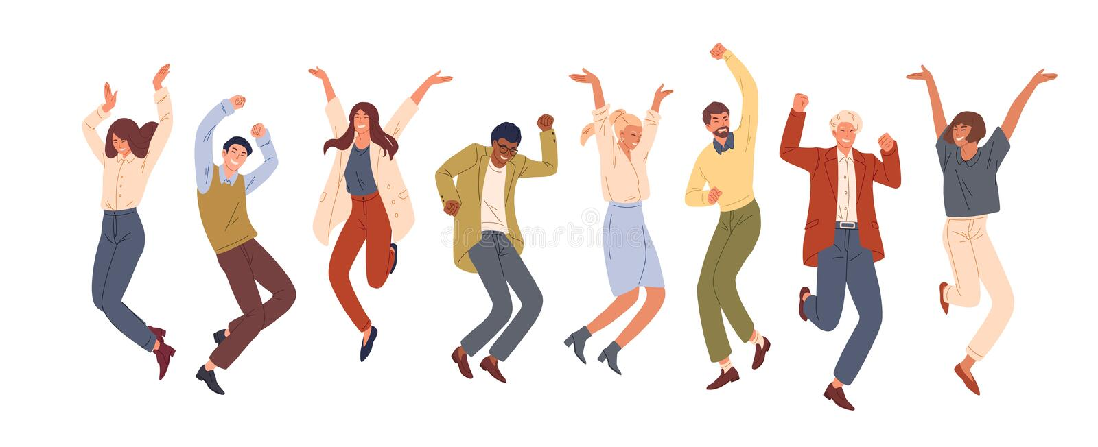 Happy jumping office workers flat vector illustration. Cheerful corporate employees cartoon characters set. Young male. And female students in casual clothes vector illustration