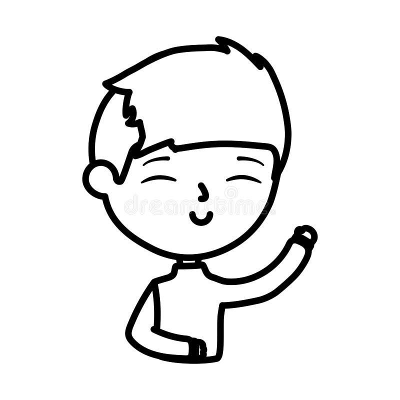 Happy junger Mann windet Handkartoon linear stock abbildung