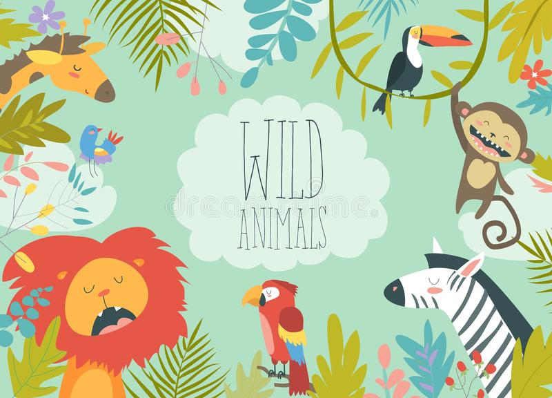 Happy jungle animals creating a framed background royalty free illustration