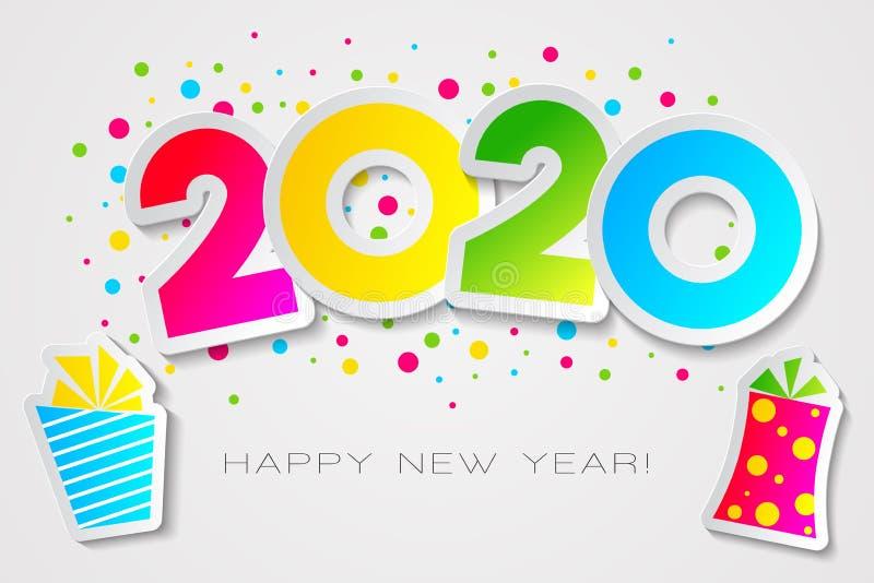 Happy 2020-kaart in papieren stijl met cadeautjes, voor uw seizoensgebonden feestdagen, vector illustratie