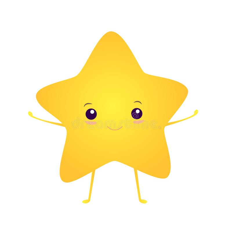 Happy, kawaii, bright smiling asterisk, isolated on white background. Vector illustration with cute star. Cartoon style vector illustration